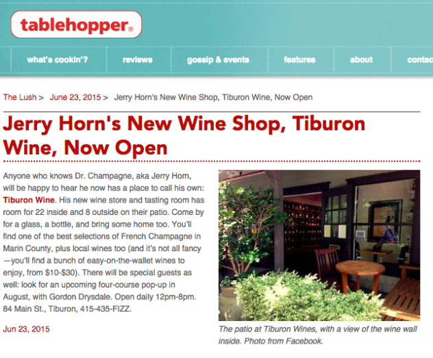 Tiburon Wine mention on Table Hopper