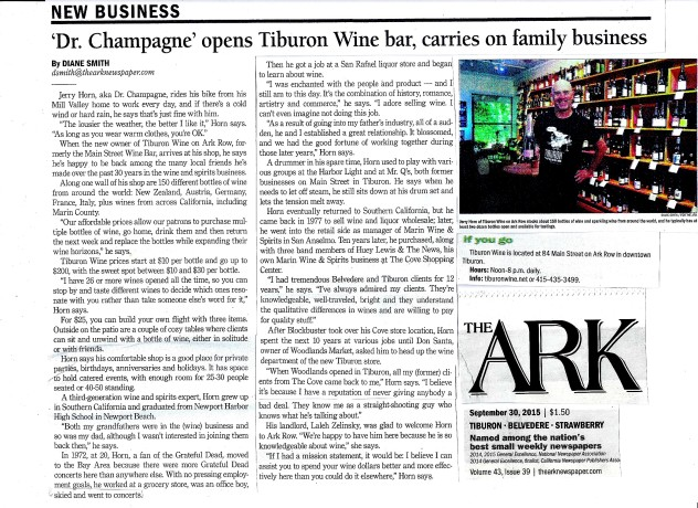 Tiburon Wine featured in The Ark
